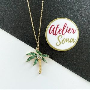 Crystal Encrusted Tropical Palm Tree Necklace